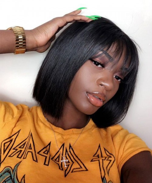 Invisilace Bob 360 Lace Front Wigs with Bangs Straight 150% Density