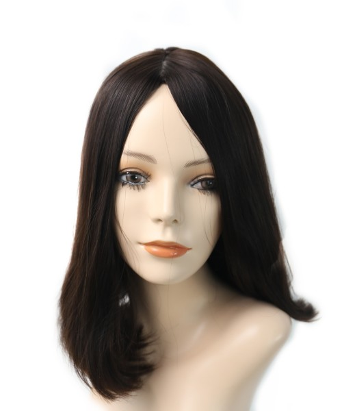 Invisilace Straight Human Hair Jewish Wig 150% Density Silk Top Wigs