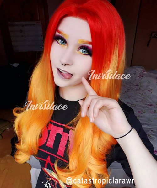 Invisilace Synthetic Hair Lace Wig Wavy Ombre Orange Color