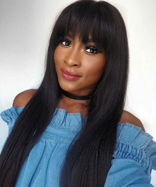 Invisilace Straight Human Hair 13x6 Lace Front Wigs with Bangs 150% Density