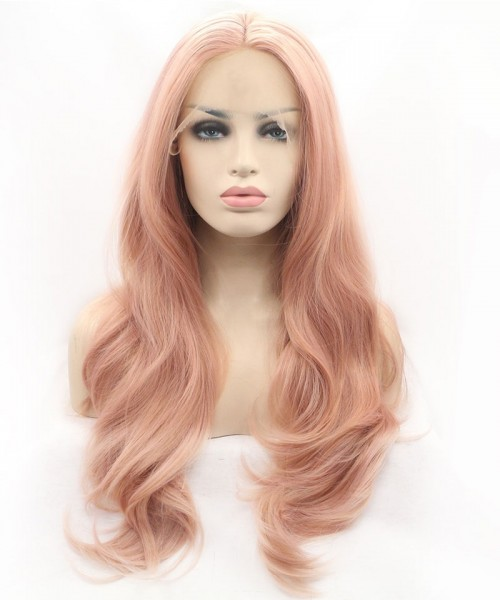 Invisilace Peach Pink Long Synthetic Lace Front Wigs