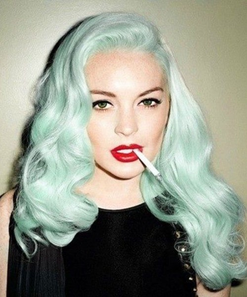 Invisilace Green Synthetic Lace Front Wigs Wavy
