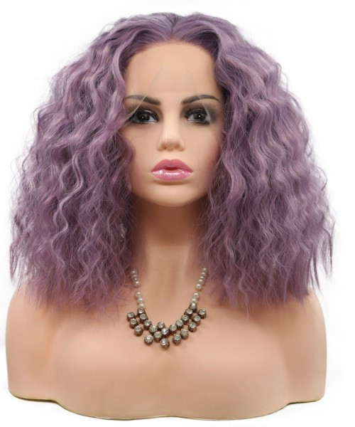 Invisilace Purple Curly Short Synthetic Bob Lace Front Wigs
