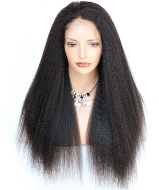 Invisilace 6inch Deep Part Fake Scalp Lace Front Wigs Kinky Straight 130% Density