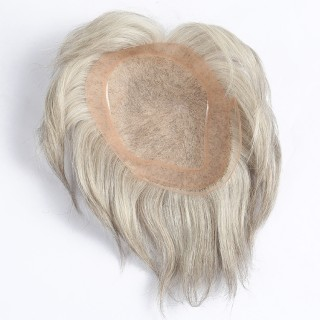 """Invisilace New Fasion Silver Gray Hair Thin Skin Men Toupee 10""""x8"""" Swiss Lace Toupee For Men"""