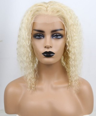 Invisilace Blonde Lace Front Human Hair Wigs Curly Bob Wig 150% Density