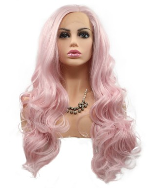 Invisilace Synthetic Lace Front Wigs Wavy Long Pink Wig
