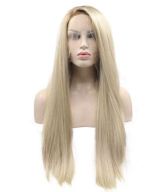 Invisilace Blonde Long Synthetic Lace Front Wigs Straight